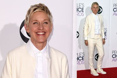 Ellen opted for a more casual look.