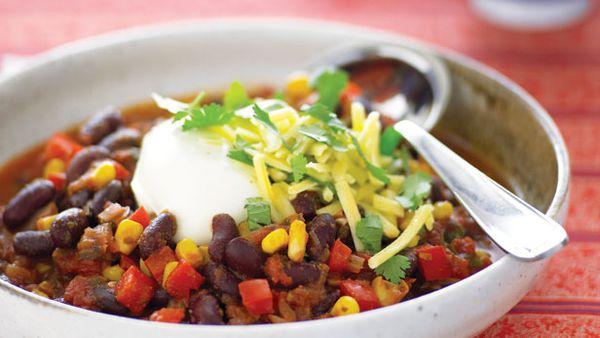 Kidney bean, corn and capsicum chilli
