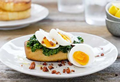 Soft boiled eggs with chorizo on ciabatta