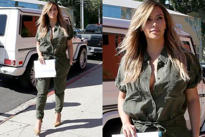Shooting scenes for <i>Keeping up with the Kardashians</i> the reality star earned her stripes in a (subtly) sexy khaki jumpsuit. <br/><br/>Oh, and let's not forget those enviable suede Saint Lauren Paris pointed pumps... #want<br/><br/>Source: Splash
