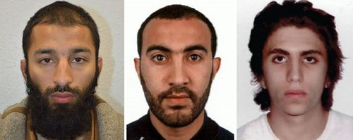 London Bridge terrorists (left to right) Khuram Shazad Butt, Rachid Redouane and Youssef Zaghba.