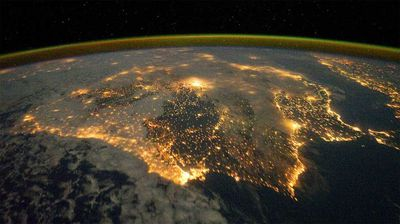 The city lights of Spain and Portugal from the International Space Station. (NASA)