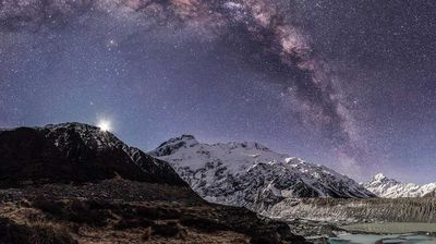"""Mount Cook in 360: """"This night we stayed on Lake Dunstan, North of Cromwell. Cromwell, and the area of Central Otago is where some of the best wines are made. After a days wine tasting we stayed the night in a carpark by the lake, and watched the moon set over the mountains. A fantasy. Once the moon had set we were left with this amazing view of the Milky Way arching over the water, and small show of Aurora over the township of Cromwell."""" Mike MacKinven, 3rd place, New Zealand, National Award, 2015 Sony World Photography Awards."""