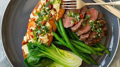 <strong>Chargrilled rump steak with feta-roasted sweet potato</strong>