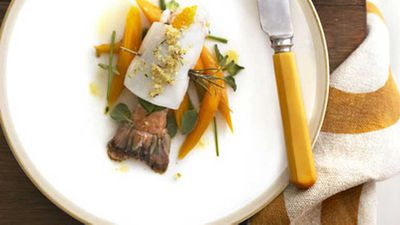 """<a href=""""http://kitchen.nine.com.au/2016/05/19/17/23/scampi-wrapped-in-calamari-with-carrot-and-orange-salad"""" target=""""_top"""">Scampi wrapped in calamari with carrot and orange salad</a> recipe"""