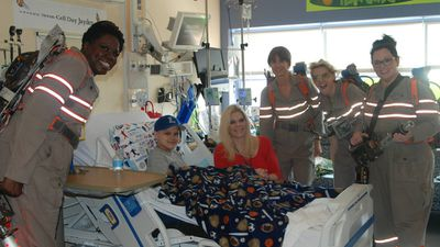 Kristen Wiig, Melissa McCarthy, Kate McKinnon and Leslie Jones paid a visit to the Floating Hospital for Children at Tufts Medical Centre in Boston on Saturday. (Facebook)
