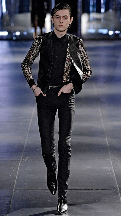 Uncle Jesse becomes our dream man in Saint Laurent, switching his suit vests for the too-cool suede version.