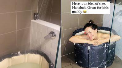 Tammin Sursok using an inflatable bathtub