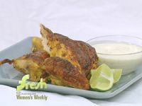 Squashed chook with spicy yogurt marinade and coconut and lime raita
