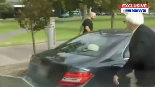 Witnesses saw the man violently kicking the doors of the car in Hurtle Square this morning. (9NEWS)