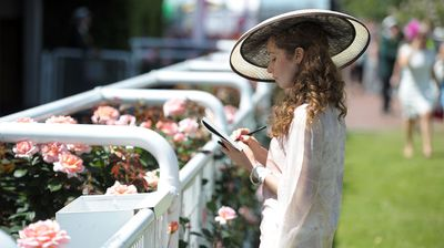 Illustrator Erin Petson sketches a horse in the parade ring. (AAP)