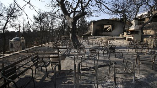 A summer camp destroyed by the fires in Mati. Picture: AP