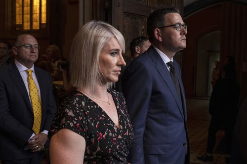 Victorian Premier Daniel Andrews (right) and his wife Catherine Andrews (second from left).