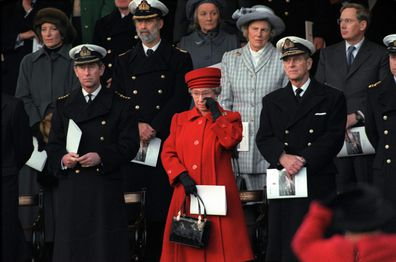 The Queen wipes away a tear during the de-commissioning ceremony for Royal Yacht Britannia in 1997
