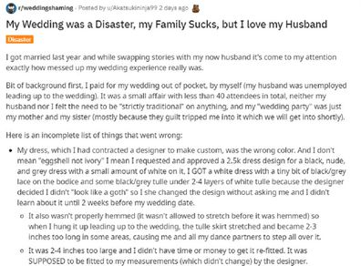 Reddit post about bride upset with family following wedding