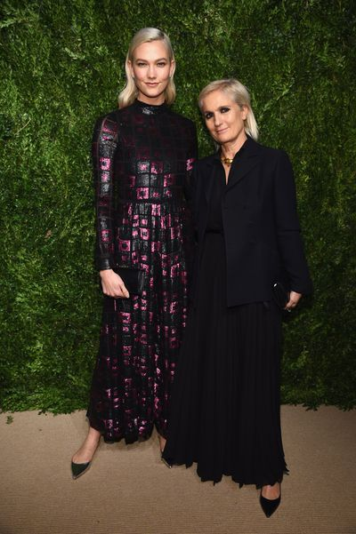 Karlie Kloss in Dior and the house's creative director Maria Grazia Chiur