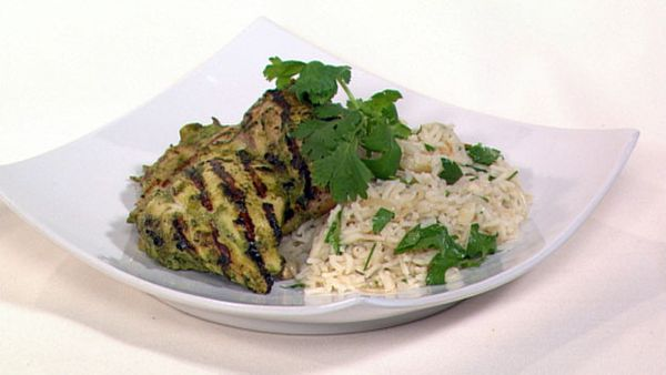 Masala chicken with herb pilaf