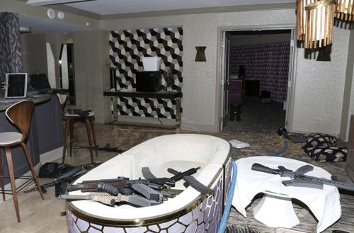 Paddock's hotel room was found to be full of automatic weapons. Image: Las Vegas Metropolitan Police Department