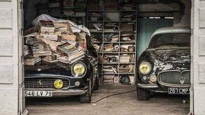 A 1961 Ferrari 250 GT SWB California Spider and a 1956 Maserati A6G Gran Sport Frua from the Baillon collection. (AP)