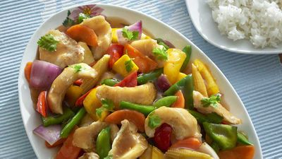 """Recipe: <a href=""""http://kitchen.nine.com.au/2018/02/05/15/32/fish-and-vegetable-stir-fry-recipe"""" target=""""_top"""" draggable=""""false"""">Fish and vegetable stir fry</a>"""