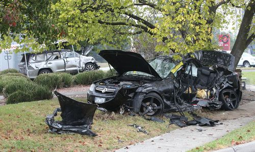 The crash scene in Wantirna South on Saturday. (9NEWS)