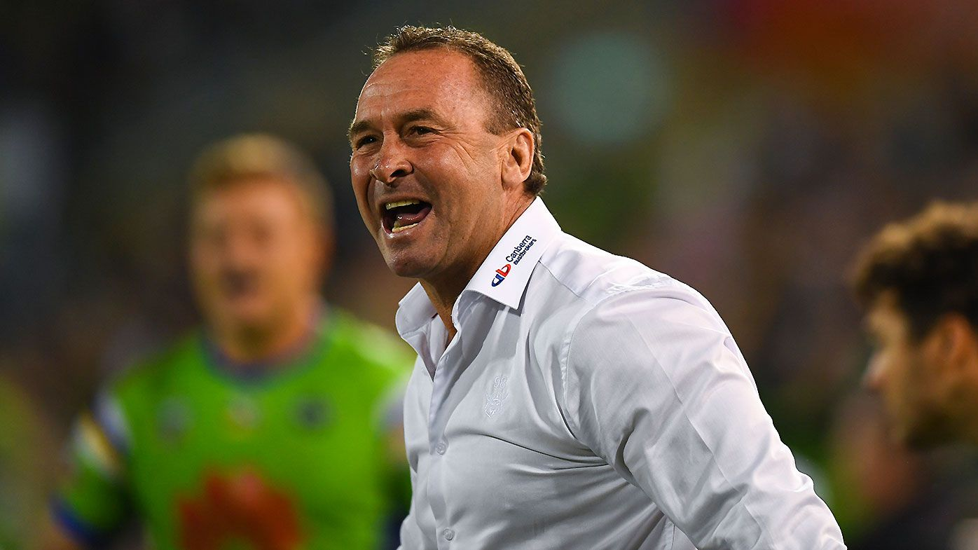 Raiders coach Ricky Stuart reacts