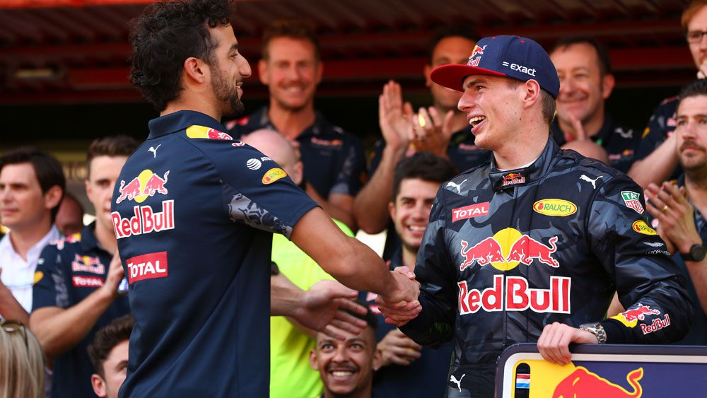 Daniel Ricciardo congratulates Max Verstappen after the Spanish GP. (AAP)