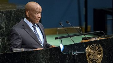 In this 2017 file photo, Lesotho Prime Minister Thomas Motsoahae Thabane addresses the United Nations General Assembly. Thabane's wife and First Lady, Maesaiah Thabane had been in hiding from police.
