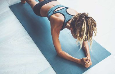 Woman planking for resistance training