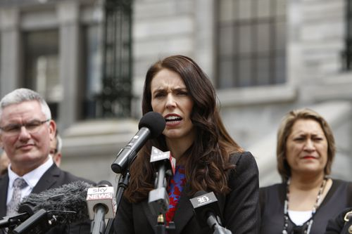 New Zealand's Prime Minister Jacinda Ardern speaks to several hundreds of well-wishers in front of the parliament. (AAP)