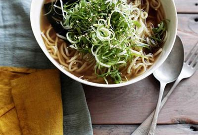 Ramen with roast pork belly, nori and spring onion