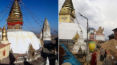 <p><b>Swayambhunath Stupa before and after</b></p><p><b><b></b></b></p><p><b><b>The stupa, which stands on a hill above the capital, also suffered severe damage. While its complex's main golden tower was untouched, many other temple buildings were totally destroyed. The Buddhist site is sacred for residents of neighbouring Tibet.</b></b></p>