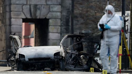 Police suspect a dissident IRA group was behind the car bombing.