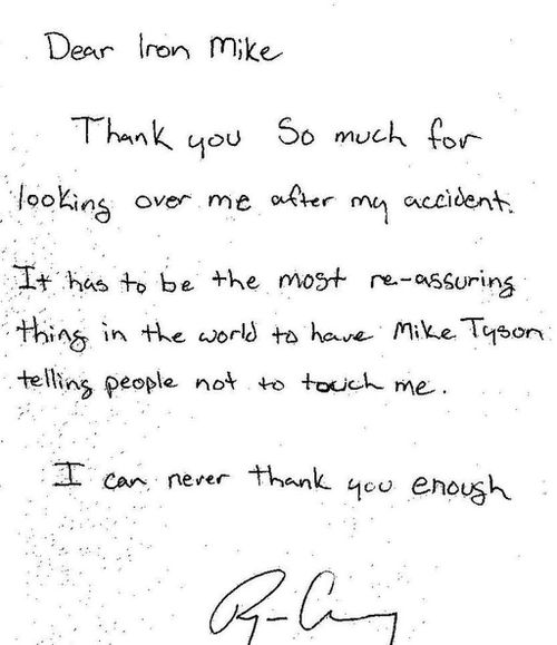 A letter Mr Chesley wrote to Mike Tyson.
