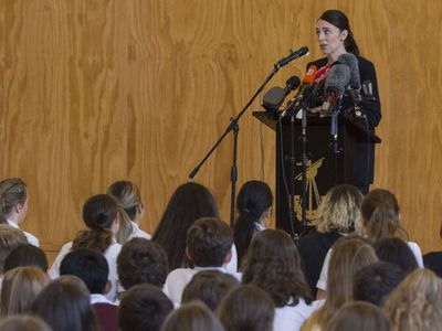 Jacinda Ardern tells students it's 'OK to grieve'