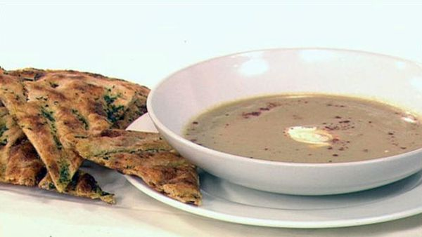 Moroccan split pea soup with herb flat bread