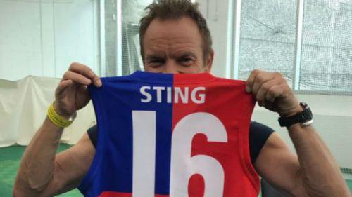 UK rocker Sting joined homegrown crooner Vance Joy and The Living End. (Twitter/AFL)