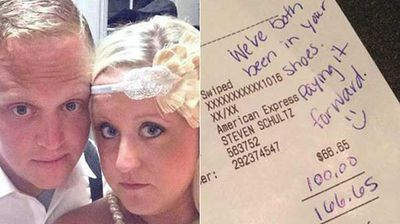 """<p><b>Young couple leave $100 tip </b></p><p> A young couple in the US left a waiter a $US100 ($120) tip in September last year despite receiving poor service. </p><p> Makenzie and Steven Schultz were celebrating their wedding anniversary at a local restaurant when they decided to leave the 150 percent tip. </p><p> Mackenzie later wrote on her Facebook page that """"other diners made fun of the restaurant and its bad service; it was obvious the reason was (because they were) short staffed and not the waiter. </p><p> """"He was running around like crazy and never acted annoyed with any table."""" </p><p></p>"""