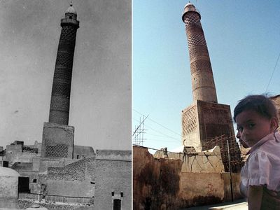 "As the Iraqi forces push into the city, the true destruction of Mosul has been unearthed by photographers showing how monuments have been turned to dust.<br /> The symbol of Mosul was the Al-Habda minaret, a part of the <a href=""http://www.9news.com.au/world/2017/07/01/10/35/mosul-liberation-al-nuri-mosque"">al-Nuri mosque</a>. For centuries it was the tallest minaret in Iraq. The 60m high tower was loved for its precarious lean and was decorated with elaborate interlaced brickwork. (American Colony Photo Department/AAP)"