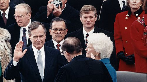George H W Bush's Inauguration to become 41st President of the USA.