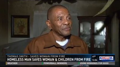 Homeless man repays family who took him in by saving them from a fire