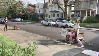 Christopher Vincent performs quarantine carolling around Charleston, West Virginia