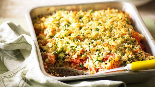 Crusty salmon and tomato pasta bake