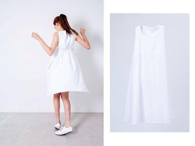 "<p><a href=""https://www.ceam.jp/"" target=""_blank"" draggable=""false"">Ceam Dress, $285.</a><br /> Who said Mums can't wear white? This class shift dress doesn't stain - it's made with cutting edge nanotechnology to repel water and staining.</p>"