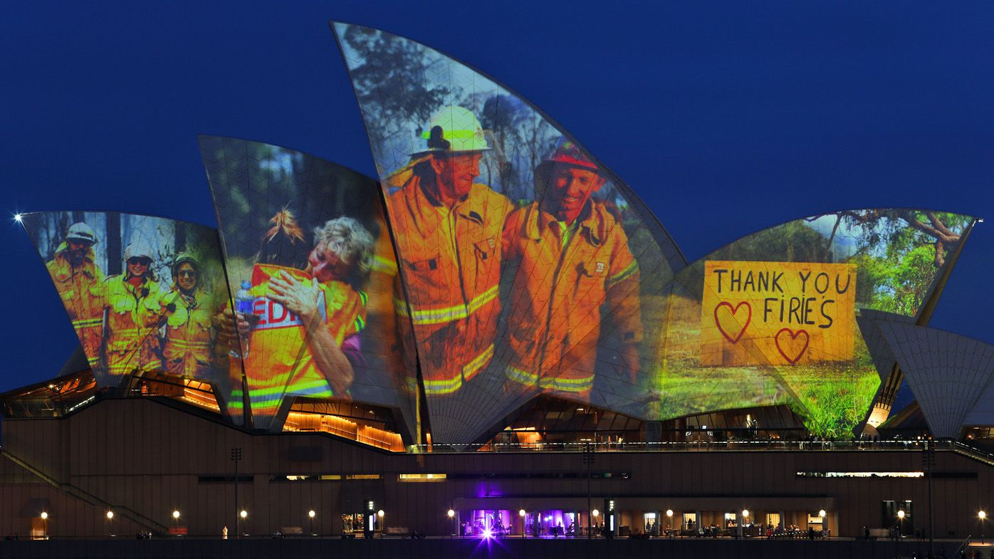 Sydney Opera House lights up with images of firefighters in support of Australia's bushfire crisis
