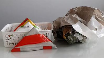 Mum's space saving solution for plastic bags is a game changer