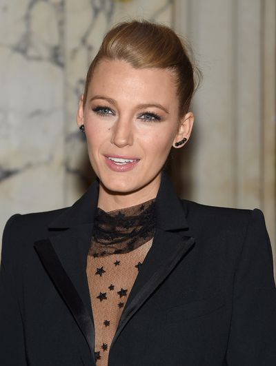 Lively's up do was the ultimate hairstyle to complement her bold cat-eye and perfectly-shaped brows at a press conference in New York, June 2015.