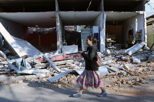 The earthquake, which has killed at least 98 people, destroyed many buildings and caused mass destruction. Picture: AAP.