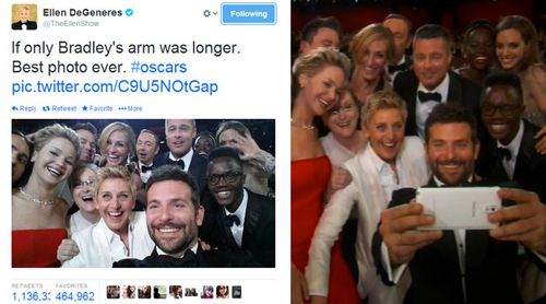 Ellen's selfie crashes through the one million mark (left).