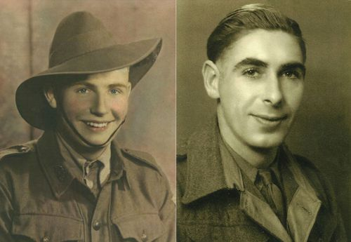 Lynn Berry's father Wal Beasley, left, and Margaret Knight's father Stan Knight, in their World War II photos.